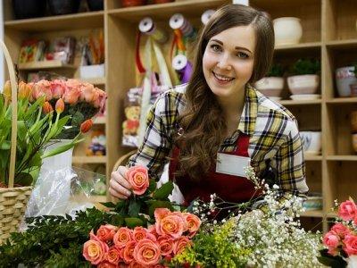 Blumenverkäuferin